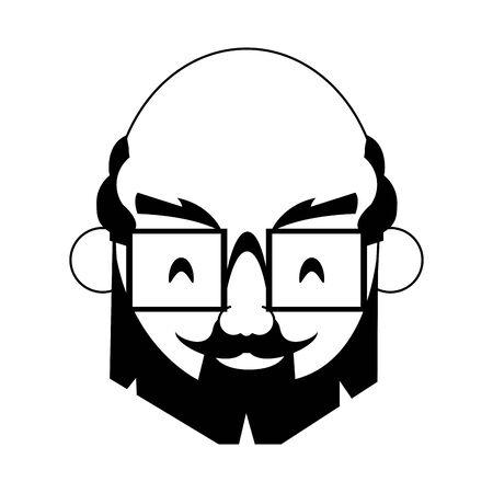 grandparent senior old retirement grandfather face wearing glasses cartoon vector illustration graphic design