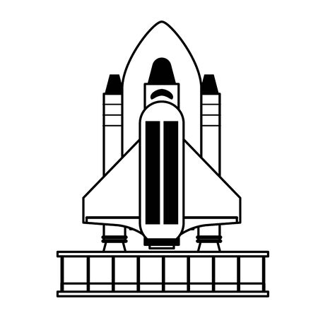 Spaceship on take off plataform symbol isolated vector illustration graphic design Иллюстрация
