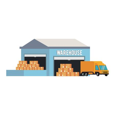 Warehouse storage with boxes merchandise and cargo truck vector illustration