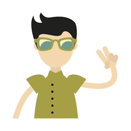hipster boy with retro clothes isolated symbol Vector design illustration