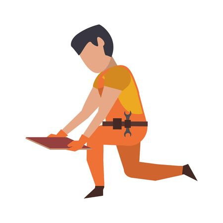 Contruction worker with floor tile vector illustration graphic design