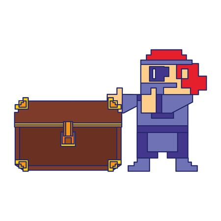 Videogame pixelated gangster character with chest isolated vector illustration graphic design