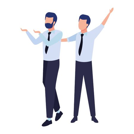 Successful businessmen working and talking colorful isolated faceless avatar vector illustration graphic design