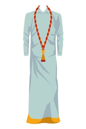 indian man dress traditional hindu clothes with skirt icon cartoon vector illustration graphic design