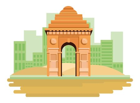 indian building monuments with gateway of india icon cartoon over the sand in the desert with building skyscraper and cityscape silhouette vector illustration graphic design