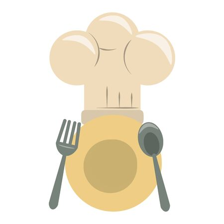 restaurant food and cuisine plate with cutlery and chef hat icon cartoons vector illustration graphic design
