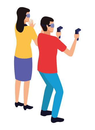 virtual reality technology, young couple living a modern digital experience with headset glassesand joysticks cartoon vector illustration graphic design 写真素材 - 129424000