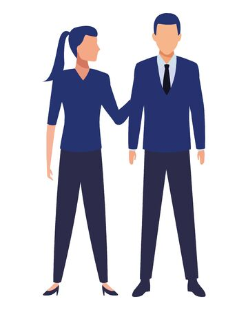 business business people businessman and businesswoman standing avatar cartoon character vector illustration graphic design Ilustração