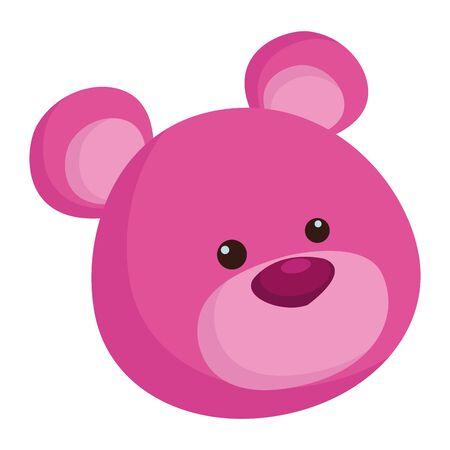 purple teddy bear cartoon symbol isolated vector illustration graphic design Illustration