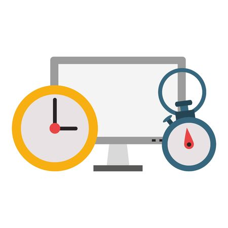 Computer hardware screen with timer and clock vector illustration graphic design