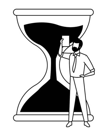 hourglass sand timer with businessman wearing beard and holding a paper icon cartoon in black and white vector illustration graphic design
