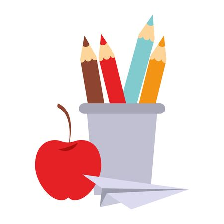 Back to school education colors pencils in cup with apple and paper plane cartoons vector illustration graphic design