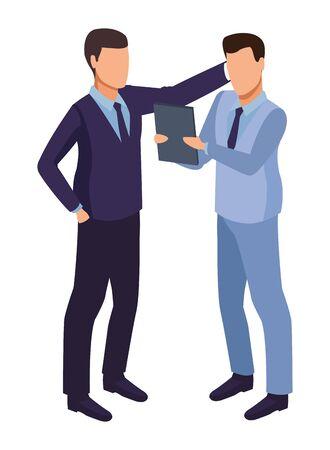 technology software businessmen with diary symbol vector illustration graphic design Ilustração