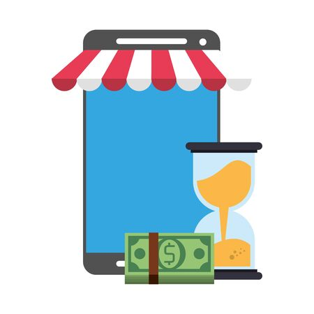 Online shopping and payment smartphone store and hourglass with cash symbols vector illustration graphic design
