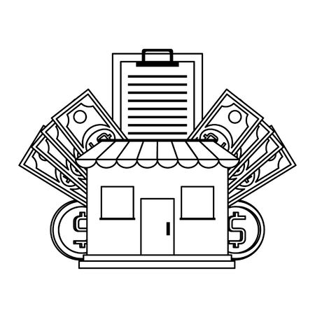Shopping store with clipboard and money symbols vector illustration graphic design