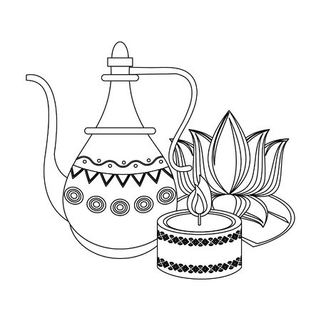 Indian lotus flowers and decorative porcelain jars with leaves isolated vector illustration graphic design Illusztráció