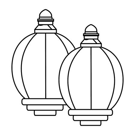 two lantern icon cartoon isolated in black and white vector illustration graphic design