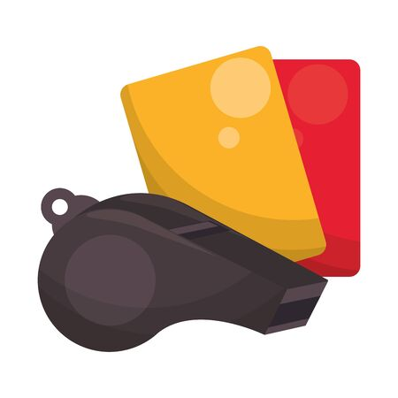Soccer football sport game whistle and referee card vector illustration graphic design