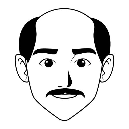 indian man face with moustache and bald profile picture avatar cartoon character portrait in black and white vector illustration graphic design Illustration