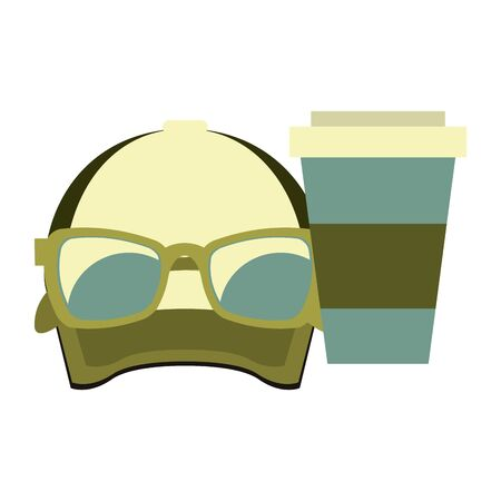 hipster accessories for the summer and cup sunglasses with coffee cup isolated symbols Vector design illustration