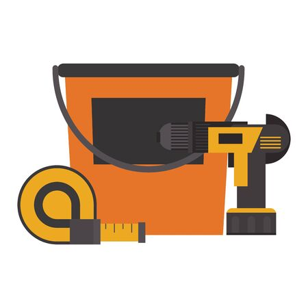 Construction tools paint bucket and drill with measurement tape vector illustration graphic design