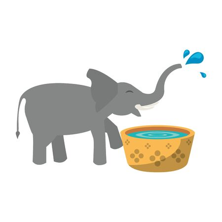 Elephant drinking water from pot cartoon isolated vector illustration graphic design Çizim