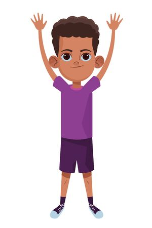 little kid afroamerican boy with hands up avatar cartoon character portrait isolated vector illustration graphic design