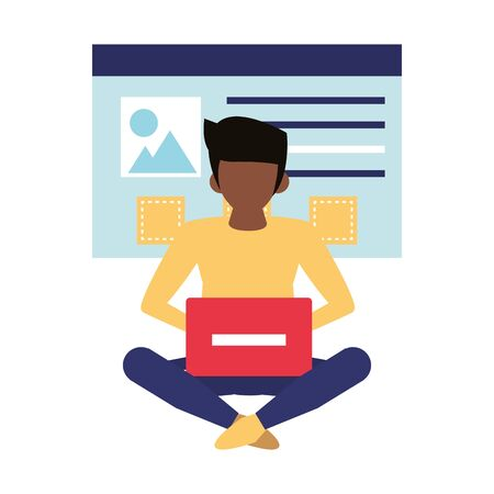 man using laptop computer technology for see images cartoon vector illustration graphic design Ilustração