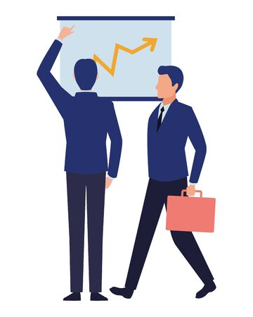 business business people businessman back view pointing a data chart and businessman carrying a briefcase avatar cartoon character vector illustration graphic design