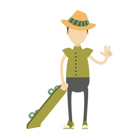 hipster boy with green skateboard and hat isolated ysmbol Vector design illustration