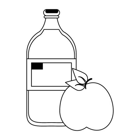 fruit fresh delicious healthy apple with water bottle cartoon vector illustration graphic design