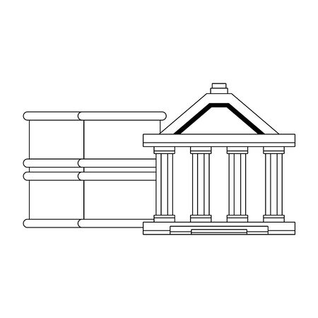 Bank building and petroleum barrels symbols in black and white vector illustration