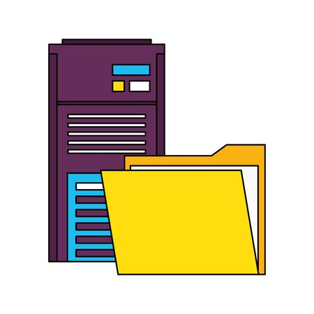 server tower network hardware technology with documents cartoon vector illustration graphic design