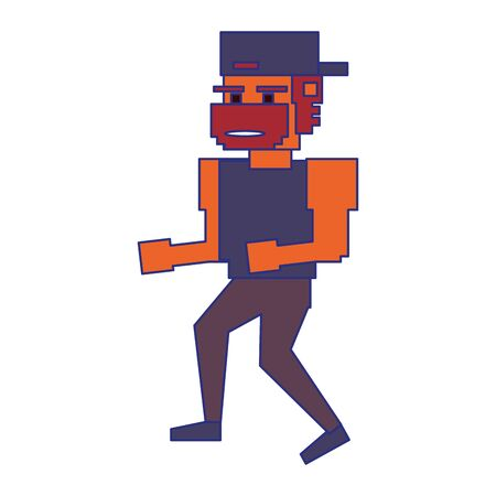 Retro videogame gangster pixelated cartoon vector illustration graphic design 向量圖像