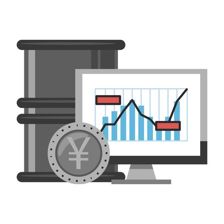 Online stock market investment petroleum barrel with yen coin and pc symbols vector illustration