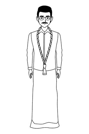 indian man with moustache and glasses wearing traditional hindu clothes profile picture avatar cartoon character portrait in black and white vector illustration graphic design