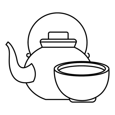 Teapot and tea drink in cup cartoon ,vector illustration graphic design.  イラスト・ベクター素材