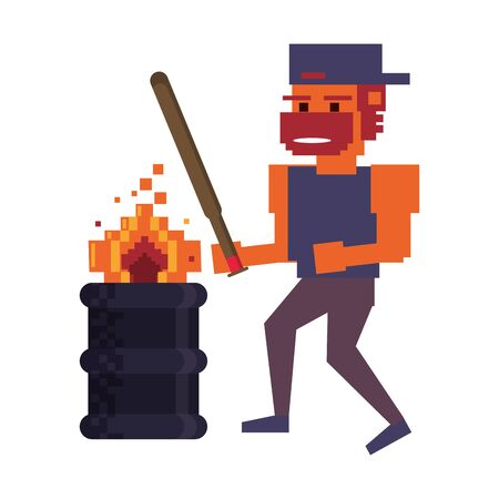 Retro videogame pixelated gangster with bat and barrel with fire cartoons isolated vector illustration graphic design