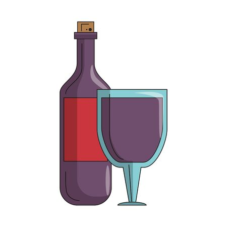 beverage liqueur and drink bottle and cup of wine icon cartoons vector illustration graphic design  イラスト・ベクター素材