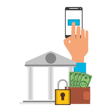 hand using samrtphone bank app with secuity padlock symbol vector illustration graphic design