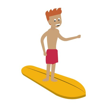 Water extreme sport man on surf table cartoon isolated vector illustration graphic design Foto de archivo - 129435971