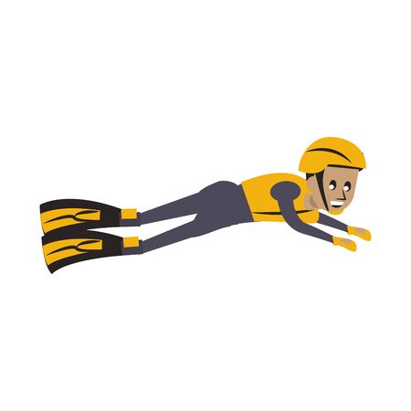 Swimmer with diving fins cartoon isolated vector illustration graphic design