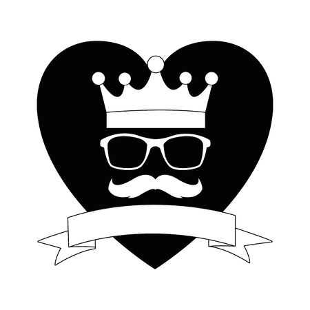 golden crown glasses and moustache icon cartoon with heart background and ribbon banner in black and white vector illustration graphic design
