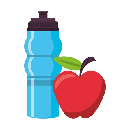 fitness equipment workout health and water flask apple isolated symbols vector illustration graphic design
