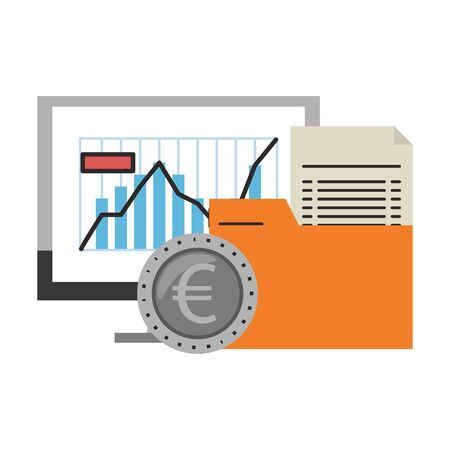 Online stock market investment computer folder and euro coin symbols vector illustration