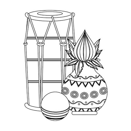 Indian tabla drums with lotus flower and ball vector illustration graphic design