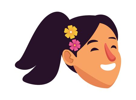 girl face with flowers in her hair profile picture avatar cartoon character portrait vector illustration graphic design Иллюстрация