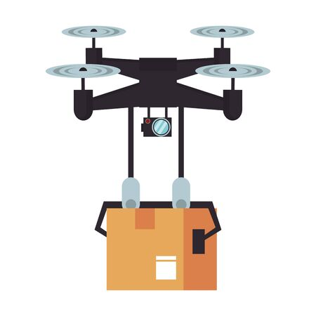 air drone remote control technology device delivery and logistic process with cardboard box cartoon vector illustration graphic design Иллюстрация