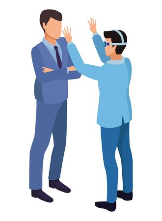technology men with virtual reality glasses symbol vector illustration graphic design