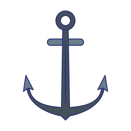 Anchor nautical symbol isolated cartoon vector illustration graphic design